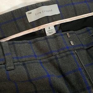 Gap Slim Cropped  plaid pants size 4 blue gray